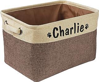 Panier de rangement pliable pour jouets pour chien avec nom personnalisé – Boîte de rangement rectangulaire pour jouets po...