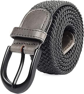 Cinturón elástico trenzado elástico con pasador ovalado Hebilla completa de cuero negro con hombre/mujer / extremo júnior (7 tamaños 12 colores)