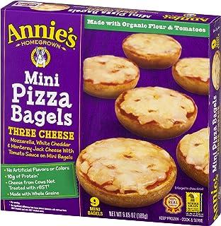 Annie's Pizza Bagels, Three Cheese Mini Pizza Bagels, Frozen Snacks, 9 Mini Bagels