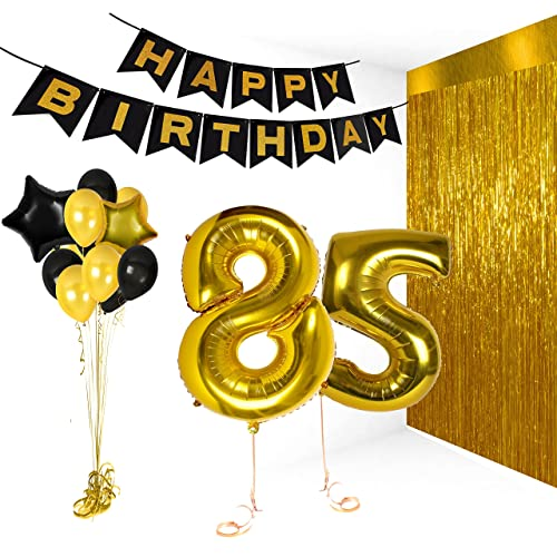 Treasures Gifted Happy 85th Birthday Party Decorations Supplies Kit Gold Metallic Letter Decor Balloon Banner For