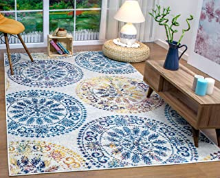 Antep Rugs Elite Collection Bohemian Geometric Circle Indoor Area Rug (Blue, 4' x 6')