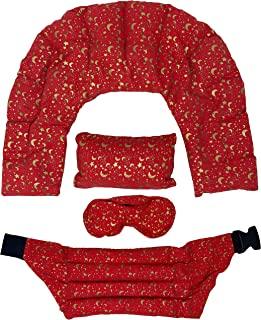 Nature's Approach A-HP-125-RED Home Spa 4-Piece Heating Pad Set with Herbal Aromatherapy Fill Freezer Safe and Microwavabl...