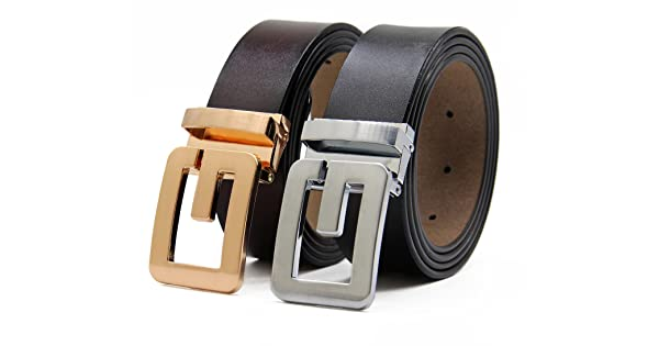 Set of 2 Men/'s Genuine Leather Belts Adjustable Dress Smooth Buckle 30mm Wide Men Belt With Gift Box BY ANDY GRADE