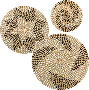 Set of 3 Rattan Handmade Hanging Wall Basket Decor- Boho Round Wicker Woven Flat Basket with Hanging Hooks Decorative Shallow Fruit Bowls in 3 Styles for Home Living Room Wall Decors Housewarming Gift