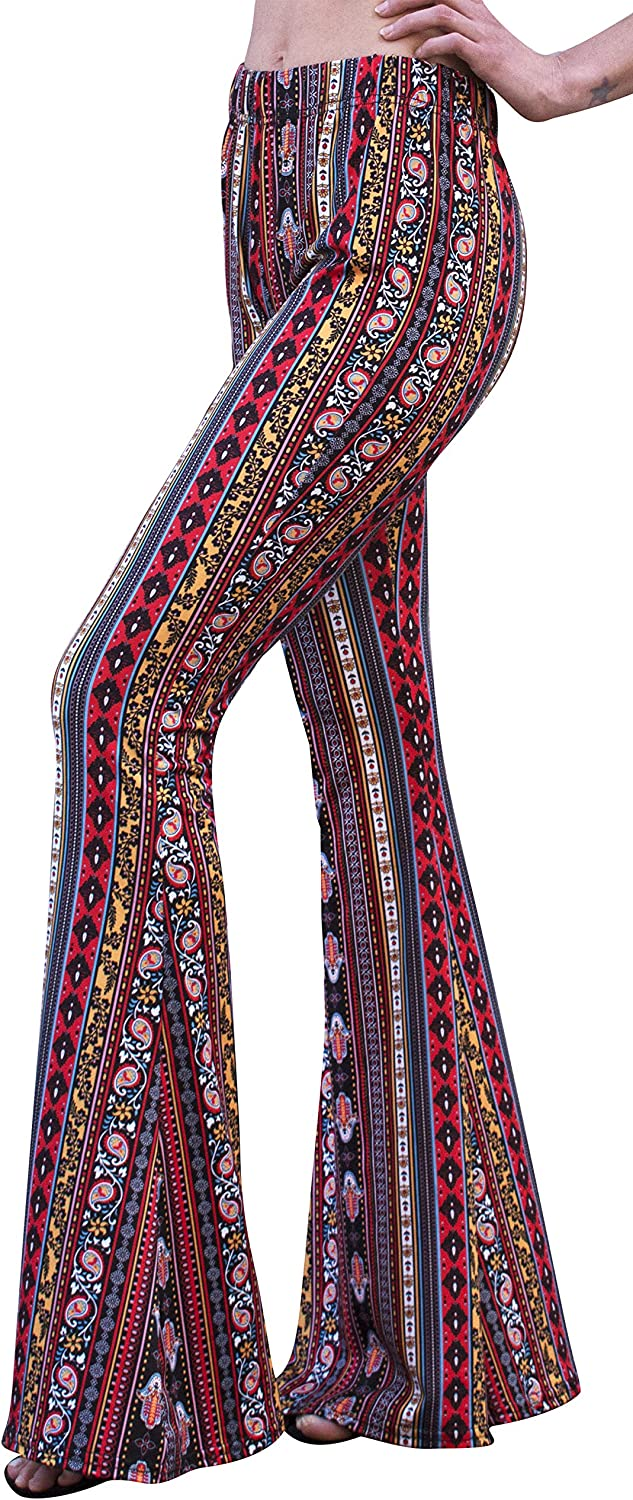 Daisy Del Sol Womens High Waist Gypsy Comfy Yoga Ethnic Tribal Stretch Palazzo 70s Bell Bottom Fit to Flare Pants