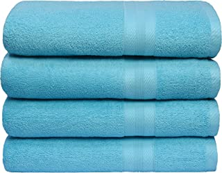BOUTIQUO Premium Cotton 4 Pack Bath Towel Set - 100% Pure Cotton - 4 Bath Towels 27x54 - Ideal for Everyday use - Ultra So...