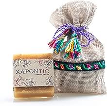 Jabón artesanal (Miel-Avena) Xapontic con bolsa bordada a mano