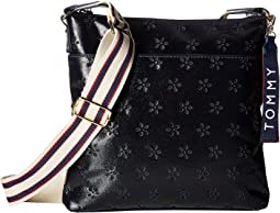 Classic Tommy Large North/South Perforated Canvas Crossbody
