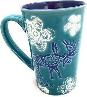 Alaska Zentangle Snowflake Moose Bear Whimsical Coffee Mug - 16 Ounce