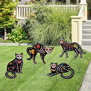 Halloween Decorations Outdoor,4Pcs Skeleton Cat Silhouette Yard Signs with Stakes Glow in The Dark,Scary Family Home Front Yard Party Plastic Decor,Halloween Yard Stakes Animal Decorations.