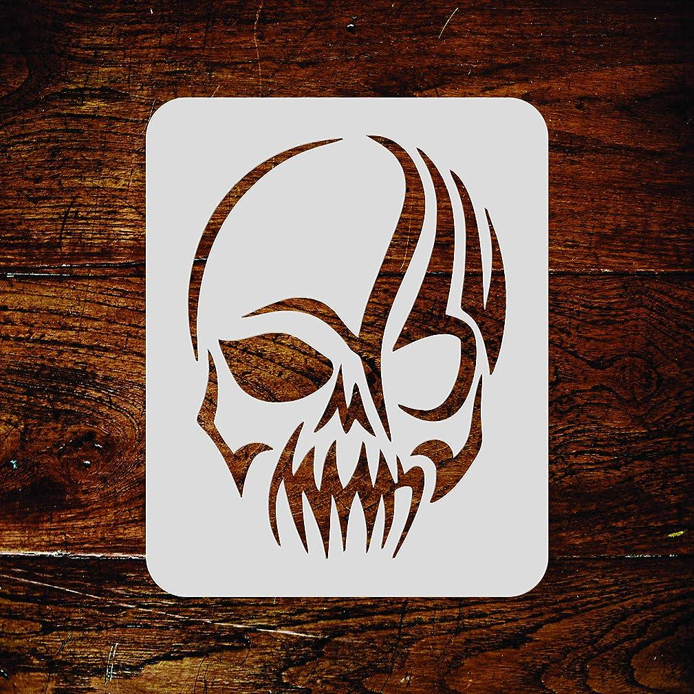 Skull Stencil - 4.5 x 6 inch (M) - Halloween Scary Tattoo Tribal Wall Stencil Template - Use on Paper Projects Scrapbook Journal Walls Floors Fabric Furniture Glass Wood etc.