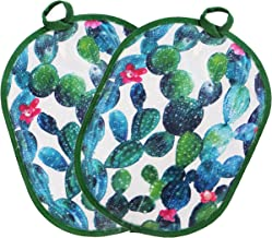 Pot holders set of 2 with Transparent clear Silicone shell and nice Cactus flower cotton lining, Heat Resistant to 500 F kitchen Oven Gloves pot holder for cooking (Cactus flower, Potholders)
