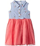 Striped and Mesh Dress (Toddler/Little Kids)