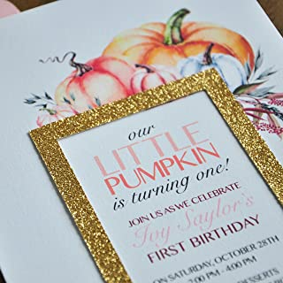 Our Little Pumpkin is Turning One. We Print, Cut, Glue & Ship. Little Pumpkin First Birthday Invitation with Envelopes.