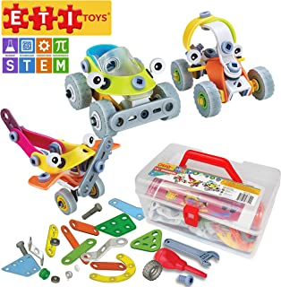 ETI Toys, STEM Learning, 163 Piece Lil Engineers Build & Play 3 Vehicle Building Blocks. Truck, Plane, Buggy. Non-Toxic, Creative Skills Development. Gift, Toy for 8, 9, 10 Year Old Boys and Girls