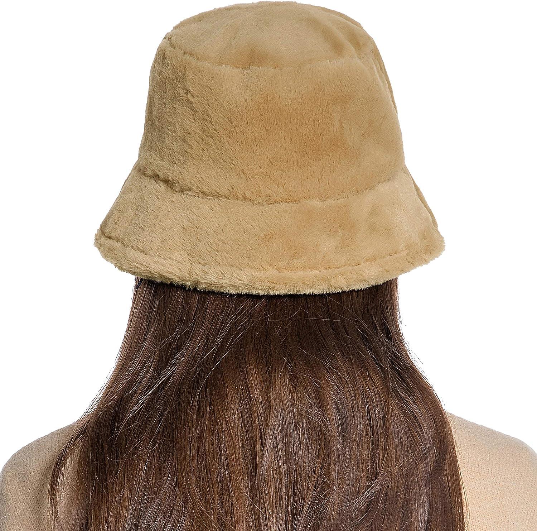 Winter Bucket Hat Women Warm Hats Vintage Faux Fur Fisherman Cap