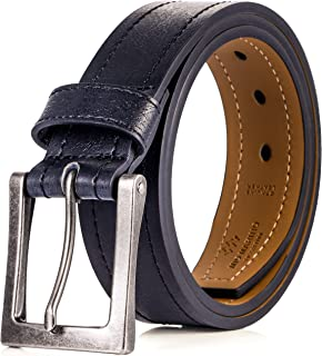 Marino Mens Leather Belt, Classic Jean Belts For Men, 1.5 Inch Wide