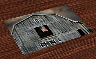 Lunarable American Flag Place Mats Set of 4, American Flag Flying in Hayloft Window Wooden Old House Dark Evening View, Washable Fabric Placemats for Dining Room Kitchen Table Decor, Black Grey