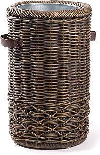 The Basket Lady Wicker Umbrella Stand, 12.5 in Dia (9.5 in Inside) x 20 in H, Antique Walnut Brown