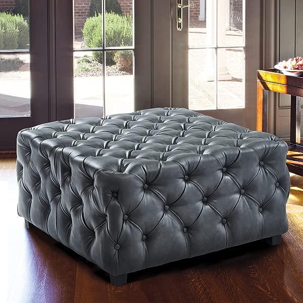 Armen Living LCTSOTPUGR Taurus Ottoman Gray Faux Leather