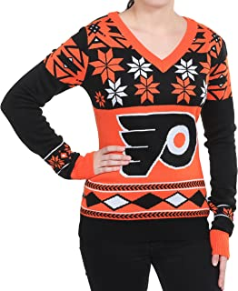 FOCO NHL Womens Big Logo V-Neck Sweater