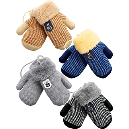 4 Pairs Kids Winter Mitten Gloves Toddler Warm Fleece Lined Mittens Kid Thermal Knitted Gloves for Boys and Girls
