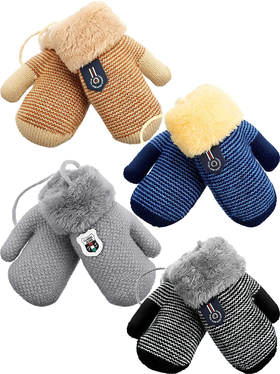 4 Pair Fleece Lined Mitten for Baby Kid Toddler Gloves Knit Thick Thermal Gloves (Light Gray, Striped Beige, Striped Black, Striped Dark Blue)