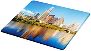 Lunarable USA Cutting Board, View of Austin Texas Summertime Sunny Day Park Trees Shores Waterscape View Image, Decorative Tempered Glass Cutting and Serving Board, Large Size, Green Blue
