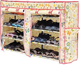 Homecute Shoe Rack 4 Layer Double Door with Cover, Collapsible, Portable, Movable, Cloth Cabinet, Organiser and Almirah Types, Steel Metal Pipe, Plastic and Non-Woven Fabric Colour- Ivory Butterfly