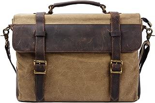 S-ZONE Vintage Canvas Messenger Mens Briefcase Shoulder Laptop Bag Large Satchel for 15.6 Inch Laptop