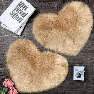 2 Pieces Fluffy Faux Sheepskin Area Rug Heart Shaped Rug Fluffy Room Carpet for Home Living Room Sofa Floor Bedroom, 12 x 16 Inch (Khaki)