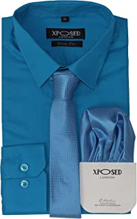 Xposed Mens Classic Cotton Slim Fit Dress Shirt Tie Hanky Gift Set Smart Casual Formal Work – 22 Colours