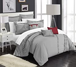 Chic Home 8 Piece Lunar New Linen Fabric Collection Comforter Set, King, Silver
