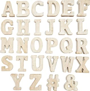 Unfinished Wood Letters for Crafts and Decor, Letters A-Z for Weddings, Birthdays, Celebrations (3 Inches, 54 Pieces)