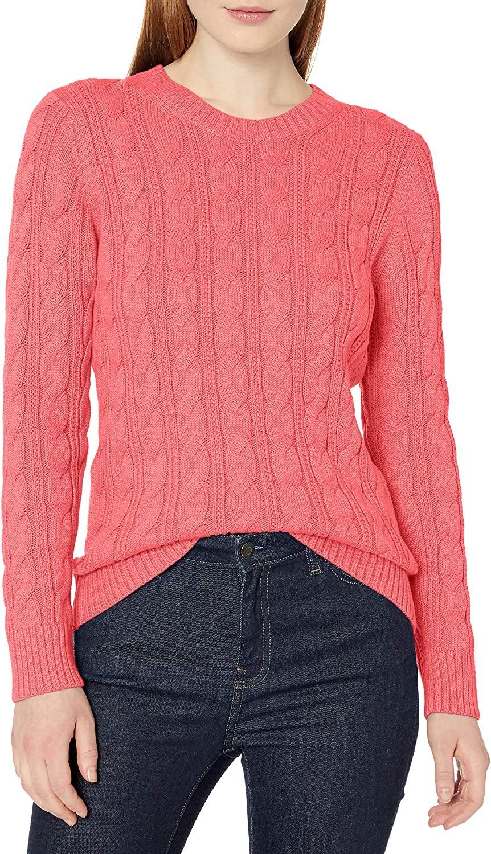 Amazon Essentials Women's Long-Sleeve 100% Cotton Cable Crewneck Sweater