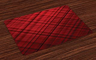 Ambesonne Red and Black Place Mats Set of 4, Scottish Kilt Design Pattern with Stripes Lines Squares Ombre Image, Washable Fabric Placemats for Dining Room Kitchen Table Decor, Burgundy Scarlet