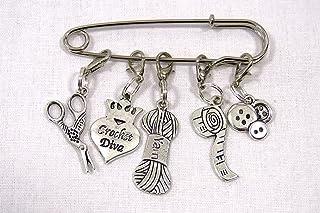 Crochet Diva – Crochet Stitch Markers – Silver Set of 5 – Perfect Gift..