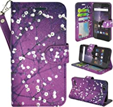 ZTE Blade Vantage Case, ZTE Tempo X Case, Customerfirst Luxury PU Leather Wallet Flip Protective Case Cover with Card Slots and Stand for ZTE Blade Vantage Z839/ZTE Tempo X N9137 (Blooming Purple)