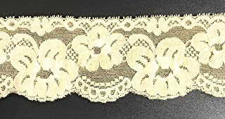 10 Yards Beige Lace Stretch Elastic 2.5 inches Wide Trim Stretch Lace for Headbands, Garters, Lingerie Stretch Lace Trim and