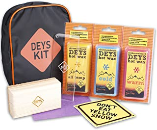 Snowboard / Ski Universal Wax Tune Kit from DEYS. Wax (4 pc: All Temp, Cold, Warm, Graphite), Plexi Scraper, Cork Bar, and more. Gift Ready Combo Pack