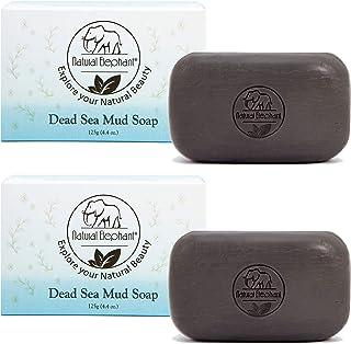 صابون طين البحر الميت 8.8 أونصة (قطعتان - 4.4 أونصة بار) منظف الجسم الطبيعي بالكامل من ناتشورال اليفانت