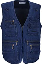 LUSI MADAM Men's Denim Vest Multi-Pockets Leisure Outdoor Fishing Vest Sleeveless Jacket,Blue