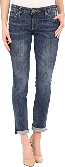 KUT from the Kloth - Catherine Boyfriend Jeans in Worldly w/ Medium Base Wash