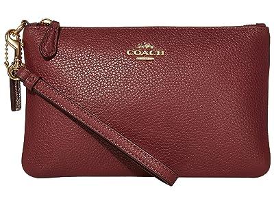 COACH Polished Pebble Small Wristlet (Vintage Mauve/Gold) Wristlet Handbags