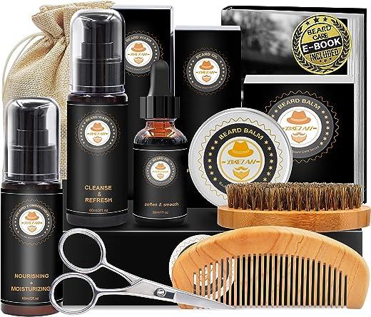 Upgraded Beard Grooming Kit w/Beard Conditioner,Beard Oil,Beard Balm,Beard Brush,Beard Shampoo/Wash,Beard Comb,Beard Scissors,Storage Bag,Beard E-Book,Beard Growth Care Gifts for Men