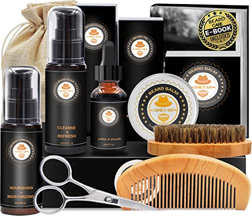 Kit de Barbe Homme Complet Coffret Barbe avec Conditionneur de Barbe Shampoing Barbe,Huile Barbe,Barbe Peigne,Brosse ...