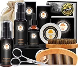 Upgraded Beard Grooming Kit w/Beard Conditioner,Beard Oil,Beard Balm,Beard Brush,Beard Shampoo/Wash,Beard Comb,Beard Sciss...