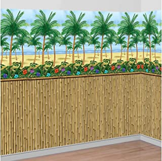 Party City Sunny Beach Scene Setter Supplies, Include a Bamboo Room Roll and Palm Tree Room Roll, Cut to Fit Your Space