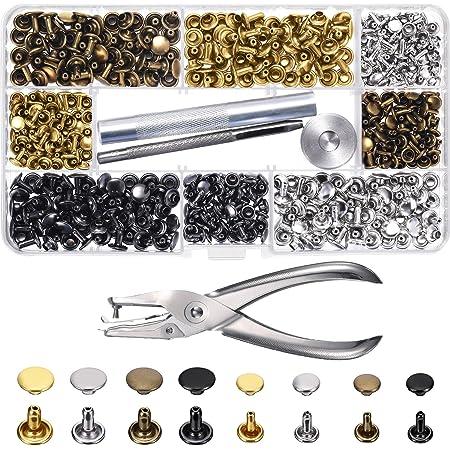 100 Sets Metall runde Kappe Krallen Nieten Leder Handwerk Tasche G/ürtel Kleidung Schuhe Kragen Dekor Zubeh/ör 13 Gr/ö/ßen bronze