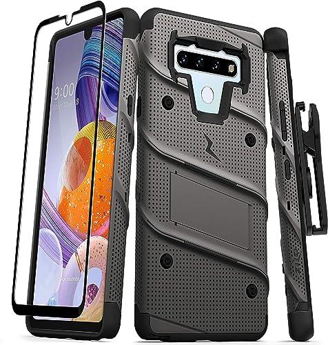 ZIZO Bolt Series for LG Stylo 6 Case with Screen Protector Kickstand Holster Lanyard - Gun Metal Gray & Black